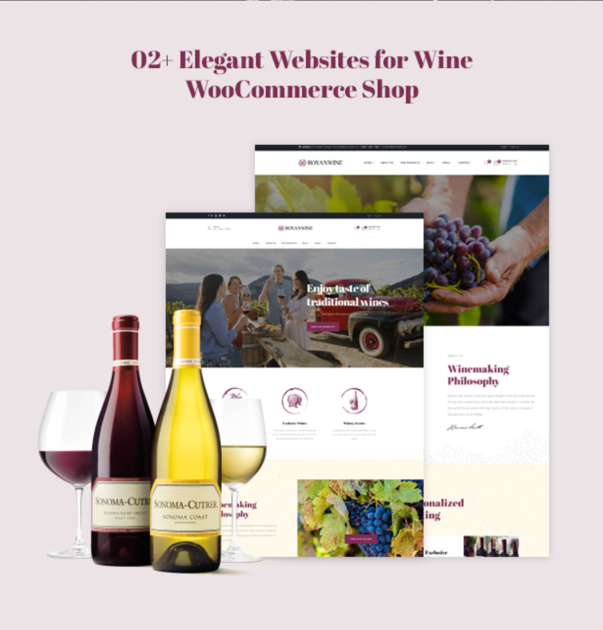 Royanwine with 2 homepages for Vinyard, Winery, Wine Makers, Dairy Farm