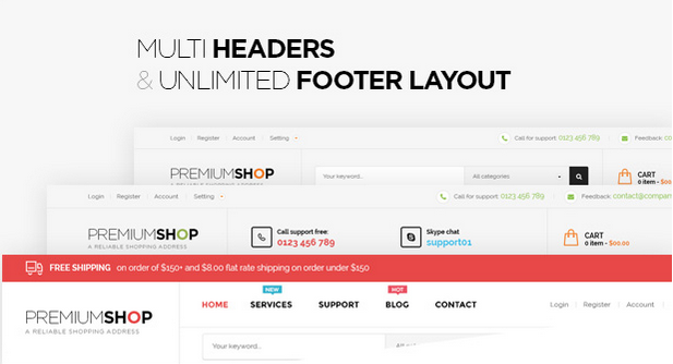 Multi Headers & Unlimted Footer Layout