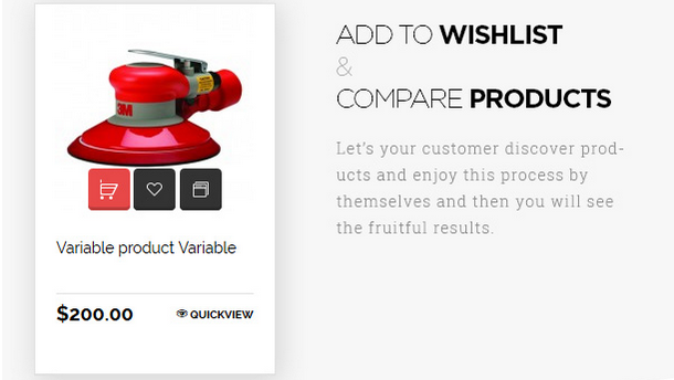add to wishlist and compare products