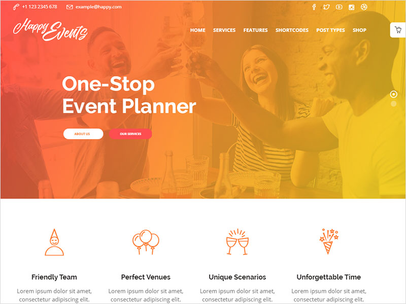 happyevents event planner wordpress theme