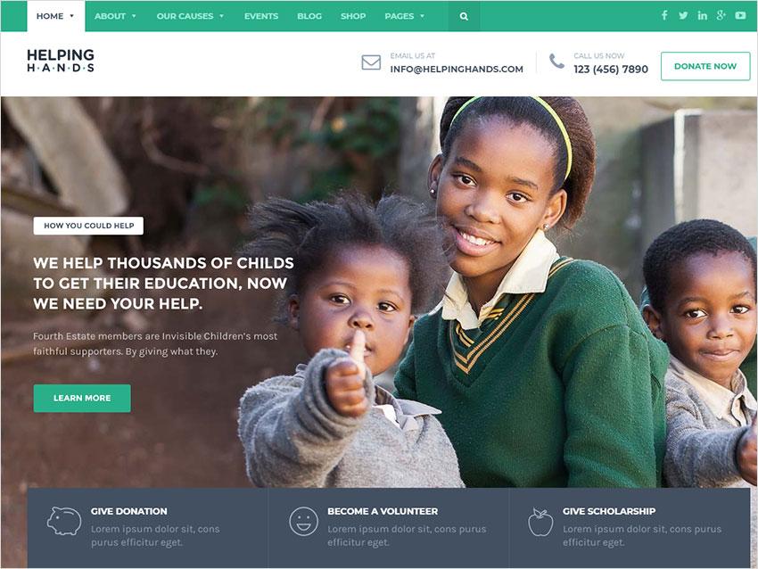 Charity WordPress Theme - Fundraising, Church, NGO, Non Profit | HelpingHands