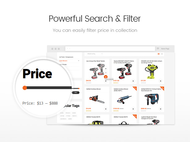 Allegro equipment woocommerce wordpress theme fast search and filter
