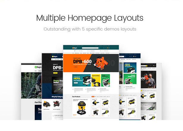 Unlimited hand tools and equipments homepage layouts of Allegro wordpress theme