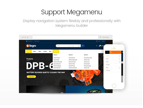 Allegro equipment theme with flexible mega menu