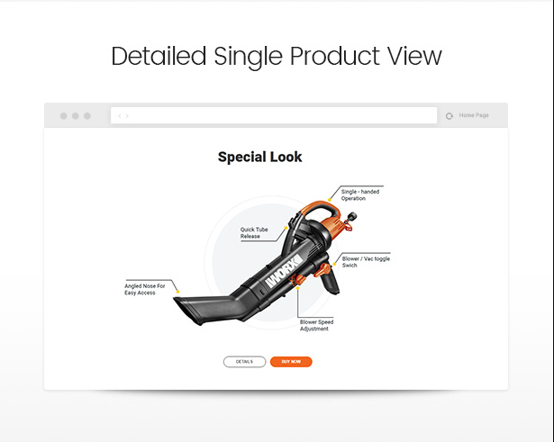 Impressive single product view in Allegro hand tool & equipment wordpress theme