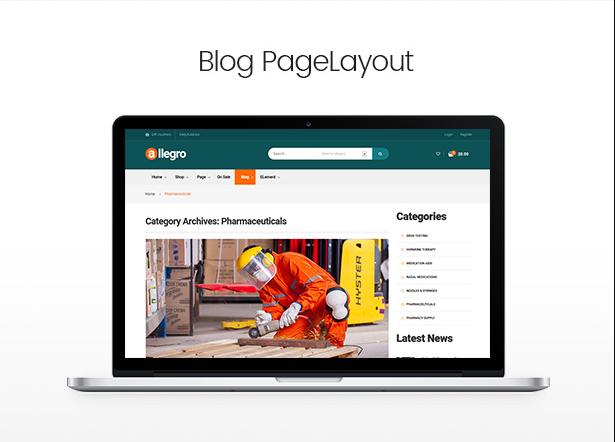 Allegro hand tool & equipment wordpress theme blog page layout