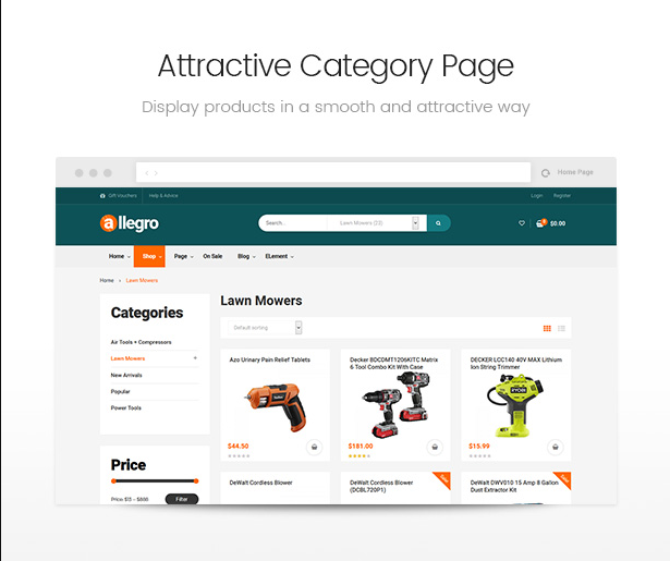 Allegro woocommerce wordpress theme category page