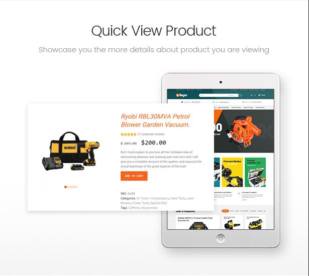 Allegro woocommerce wordpress theme quick view product