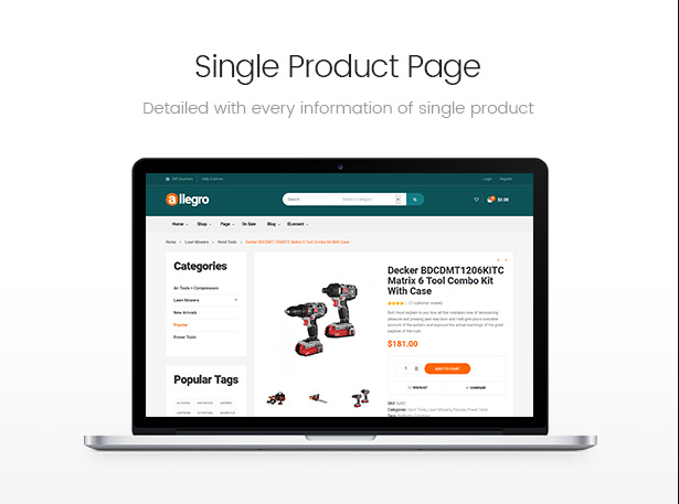 Catchy single product page in Allegro equipment woocommerce wordpress theme