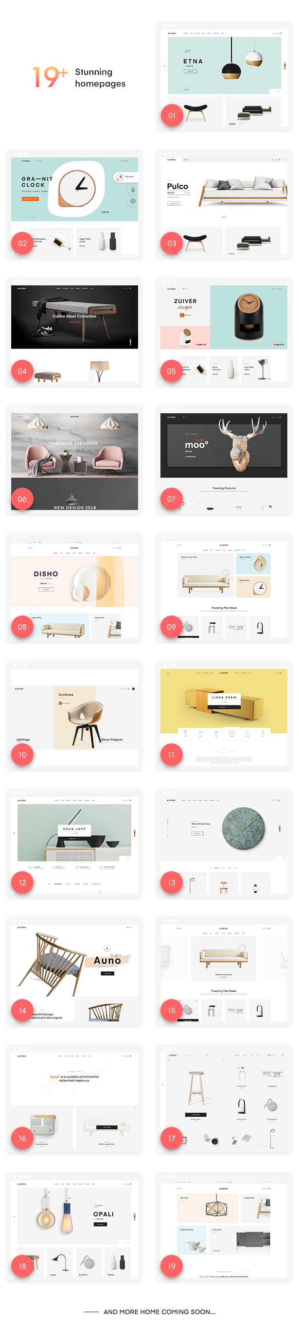 19+ Awesome Shopping Homepages of Auros Furniture Elementor WooCommerce Theme