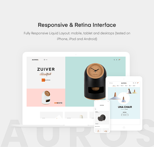 Responsive & Retina Interface Auros Furniture Elementor WooCommerce Theme