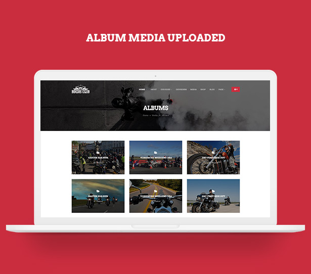 Upload album media in Bikersclub Motorcycle WordPress Theme