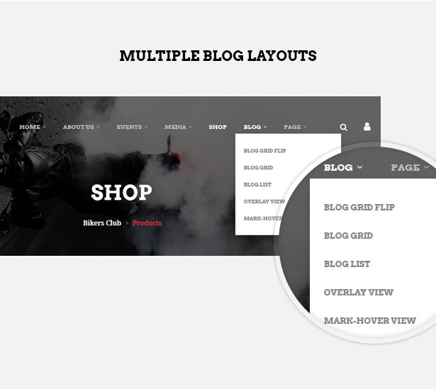 Multiple blog layouts in Bikersclub MotorBike club WordPress theme