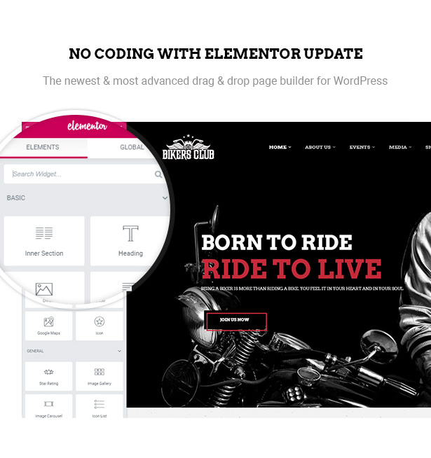 Page Builder Elementor in Bikersclub Motorcycle WordPress theme