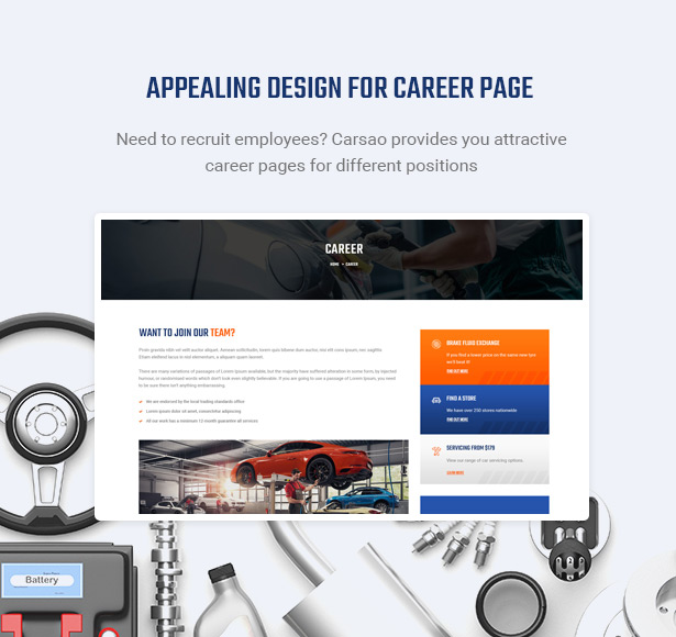 Show Open Positions & Hot Career - Carsao - Car Service & Auto Mechanic WordPress Theme