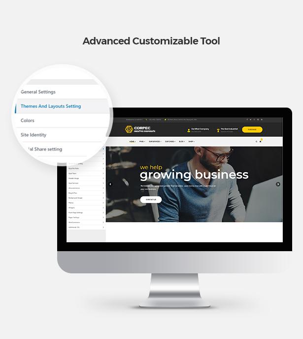 Advanced Customizable Tool in Corpec Corporate WordPress Theme