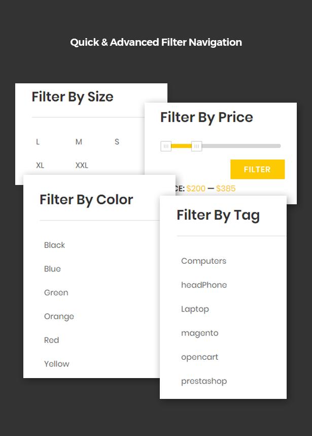 Quick & Advanced Filter Navigation in Corpec Corporate WordPress Theme
