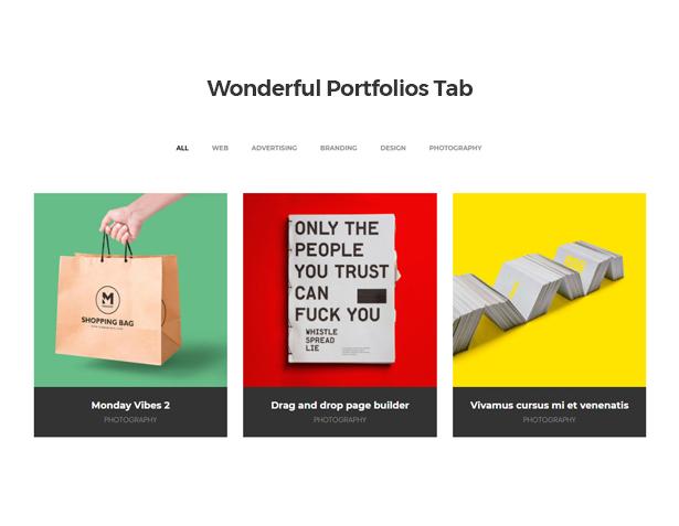 Wonderful Portfolios Tab in Corpec Corporate WordPress Theme