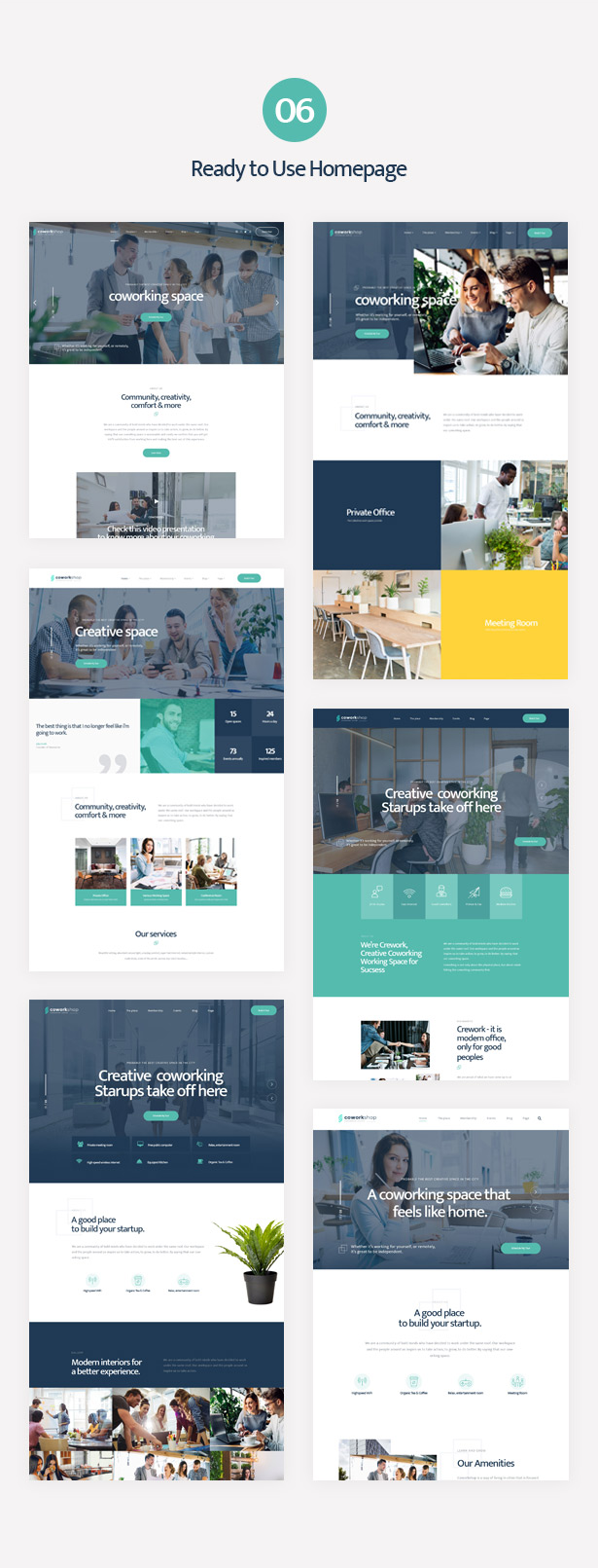 Multiple ready-to-use homepages of Coworkshop Coworking Center WordPress Theme