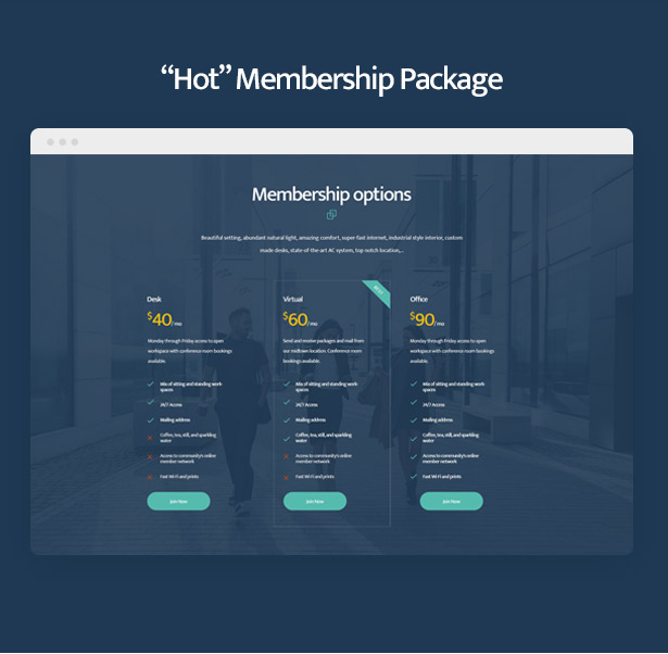 Coworkshop Coworking Space WordPress Theme with hot membership packages