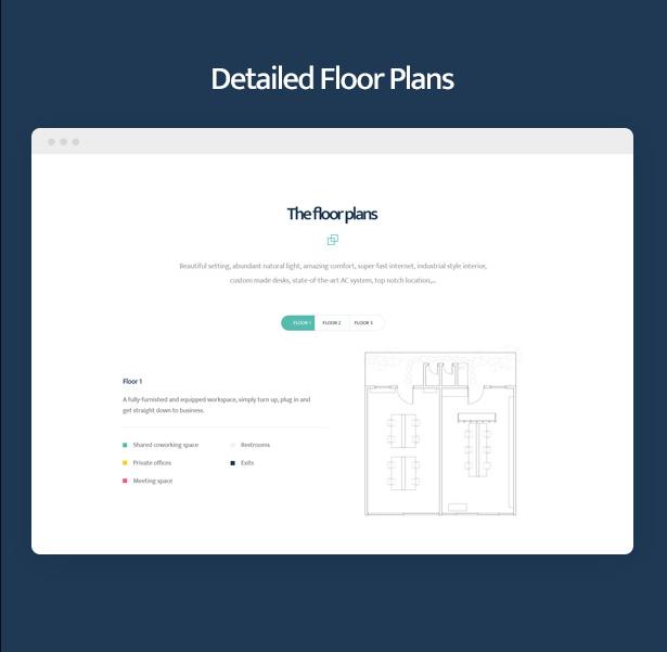Detailed floor plans in Coworkshop Coworking Space WordPress Theme