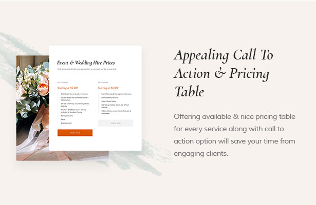 Call to Action Easily Wedding Planner site