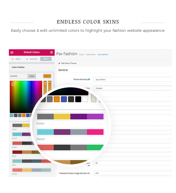 Predefined Color Schemes Fashion WooCommerce WordPress Theme