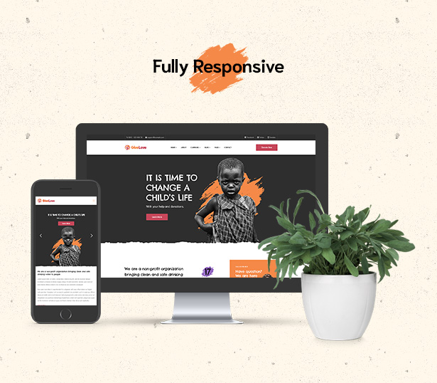 Fully responsive Givelove Non Profit Charity & Crowdfunding WordPress Theme