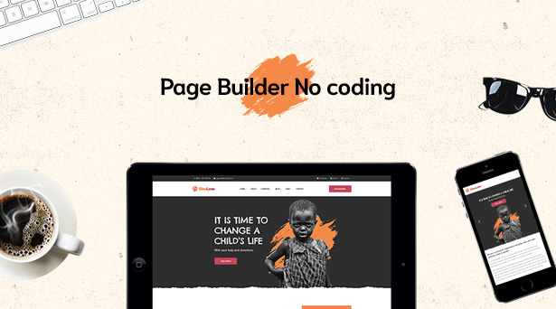 Page builder no coding with Givelove Non Profit Charity & Crowdfunding WordPress Theme