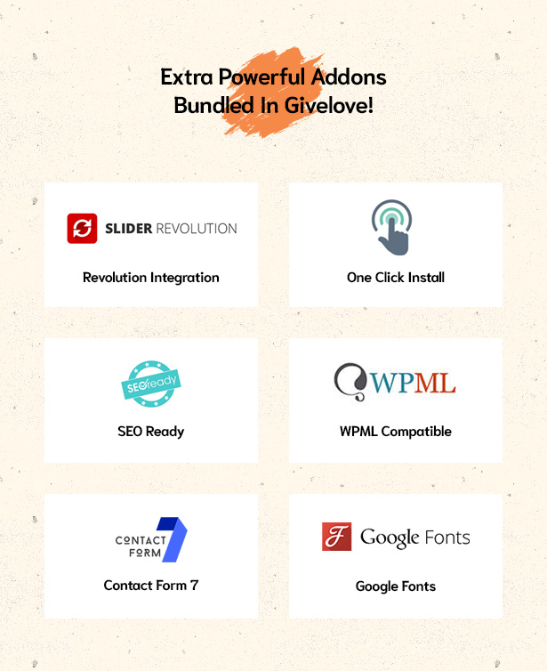 Powerful addons bundled in Givelove Non Profit Charity & Crowdfunding WordPress Theme