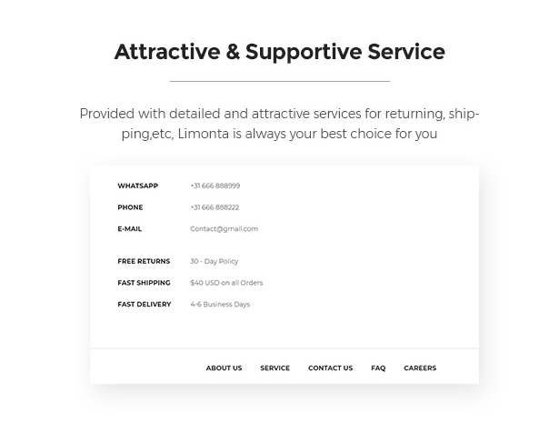 Supporting Services Limonta - Modern Fashion WooCommerce WordPress Theme
