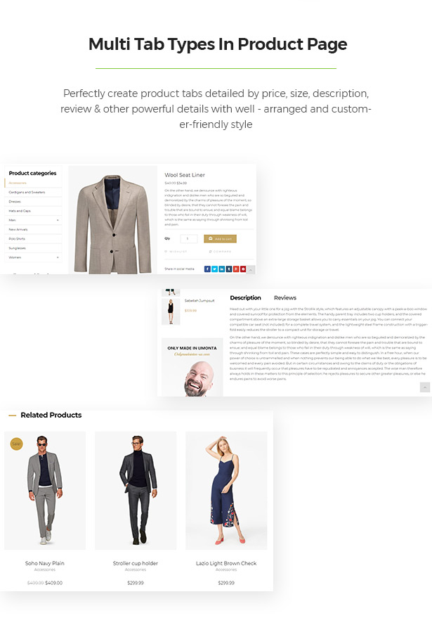 Product Page Contains Multiple Tabs Limonta - Modern Fashion WooCommerce WordPress Theme