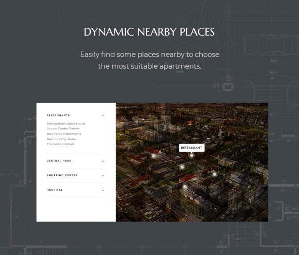 Dynamic Nearby Places Observing in MaisonCo Single Property For Sale & Rent WordPress Theme