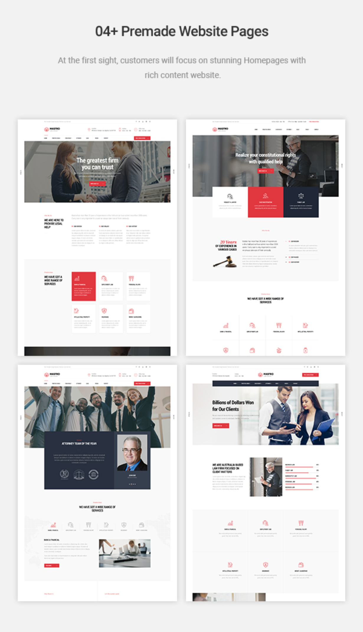 Stunning Homepages for Lawyer Mastor - Law, Firm & Legal Attorney WordPress Theme