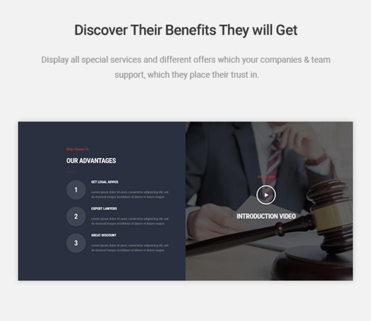 Mastor - Law, Firm & Legal Attorney WordPress Theme Customer Offering