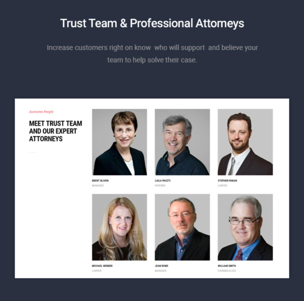 Mastor - Law, Firm & Legal Attorney WordPress Theme Attoney Showcase