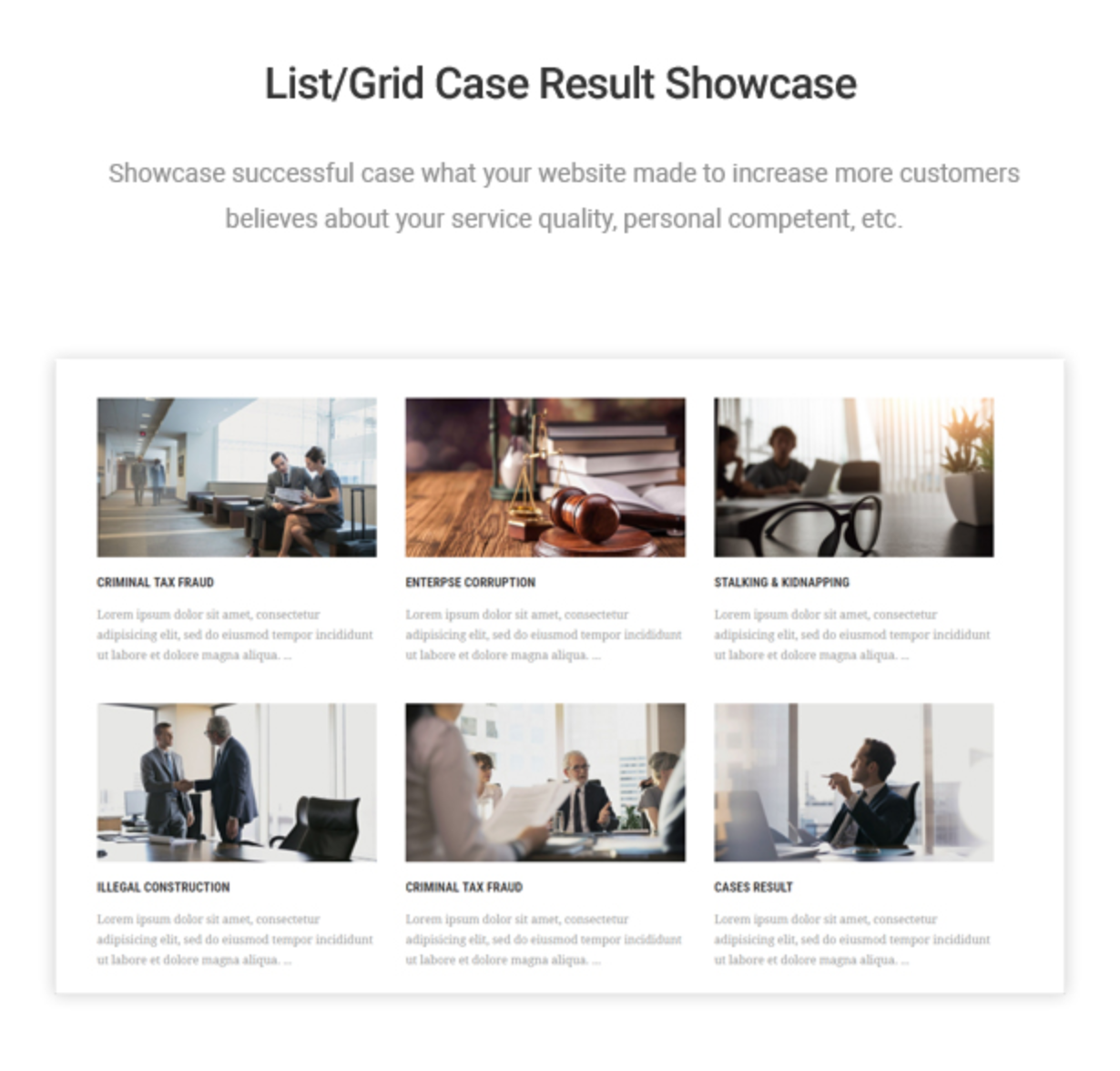 Mastor - Law, Firm & Legal Attorney WordPress Theme Case Result Layout