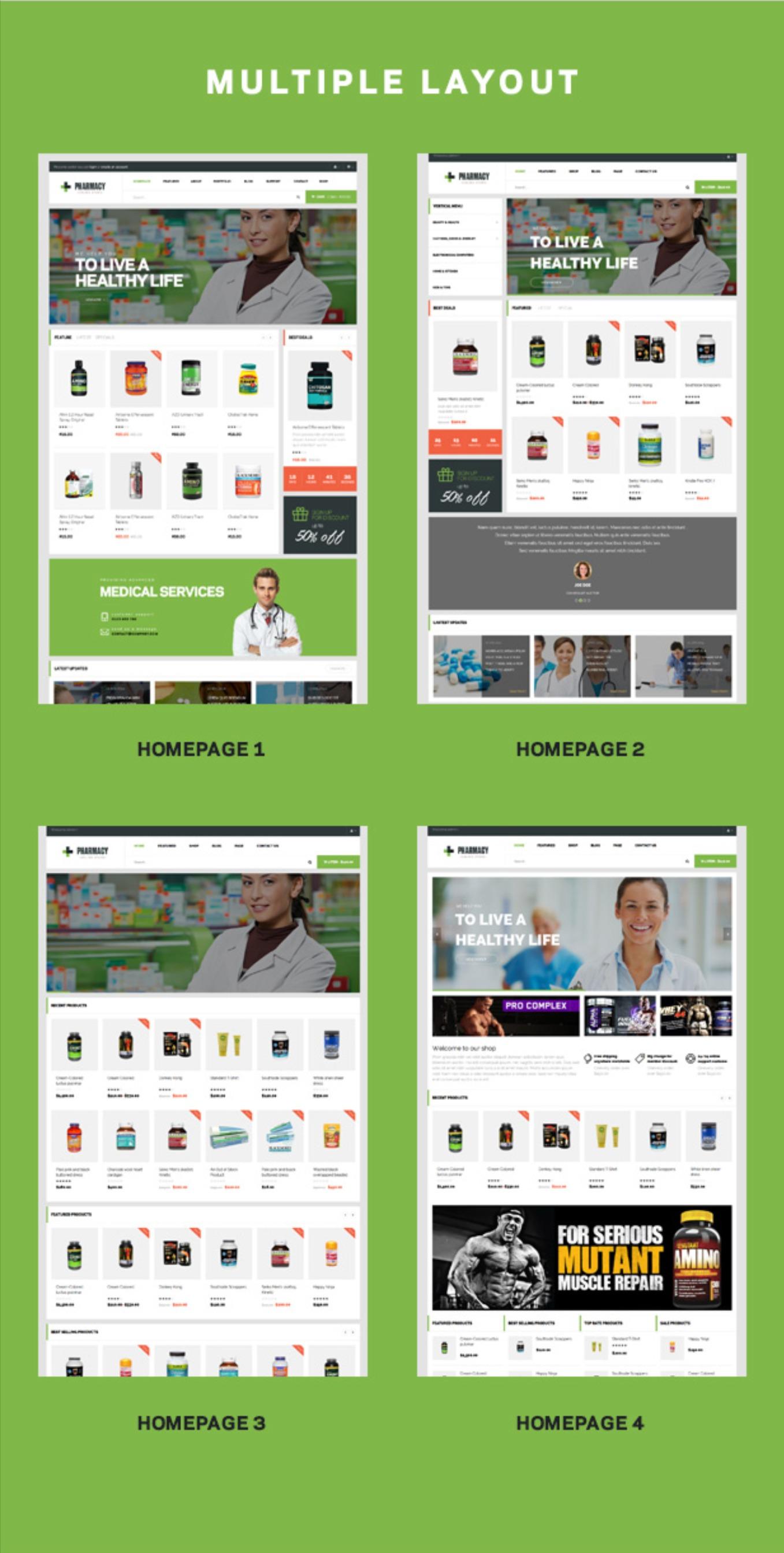 4+ Homepage Demos Pharmacy Responsive Medicine & Healthcare WordPress Theme