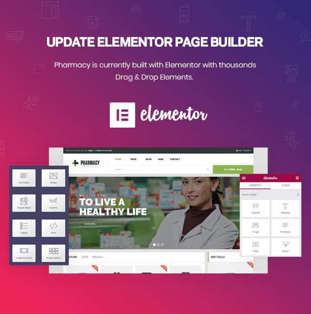 Drag Drop Page Builder Elementor Pharmacy WordPress Theme for Medicine & Healthcare