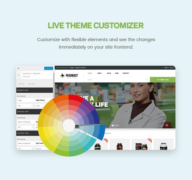 Live Theme Customizer Pharmacy WooCommerce WordPress Responsive Theme