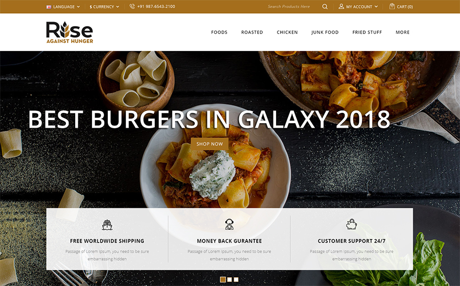 RISE - Food Store OpenCart Template<img src=