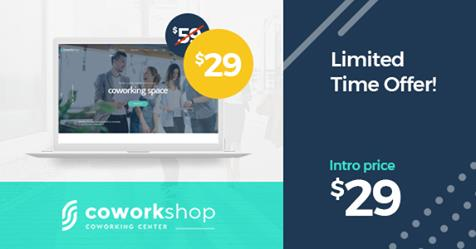 Big sale for Coworkshop Coworking Space WordPress Theme