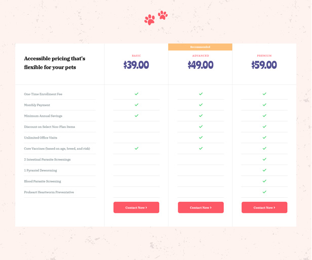 Attractive Pricing Plans in Petie Best Pet Care Center WordPress theme
