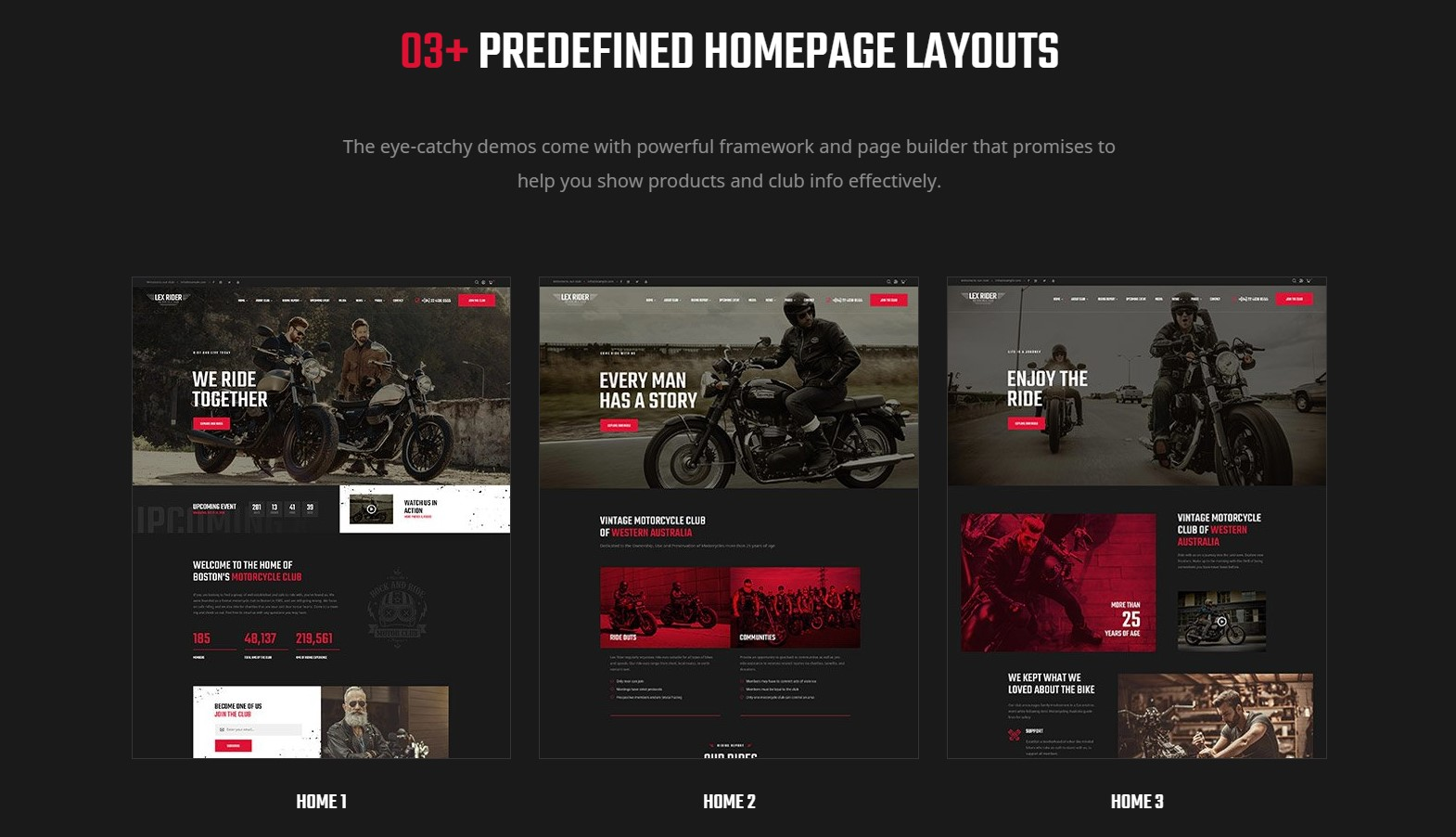 LexRider - best Motorcycle WordPress Theme - Stunning 03+ Homepage Layouts for Biker & MotorCycle Club Homepages