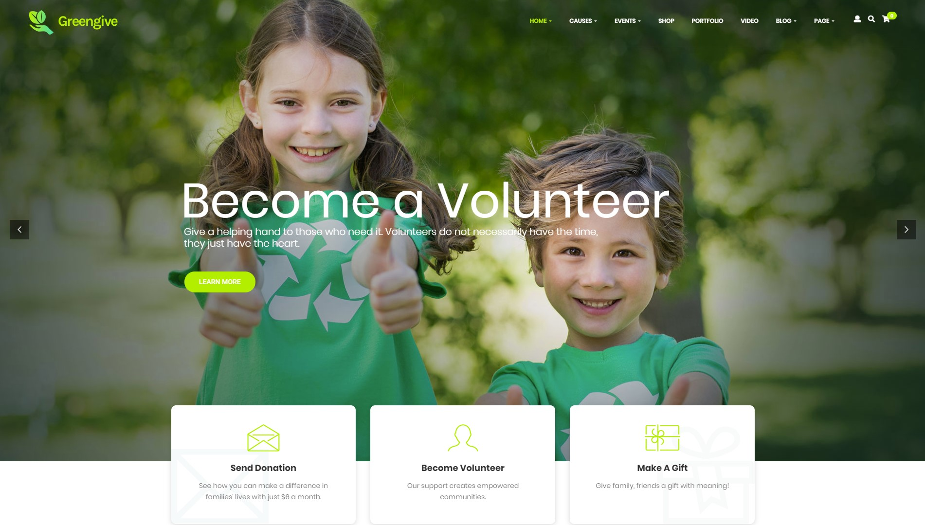 Greengive Fundraising & Charity WordPress Theme