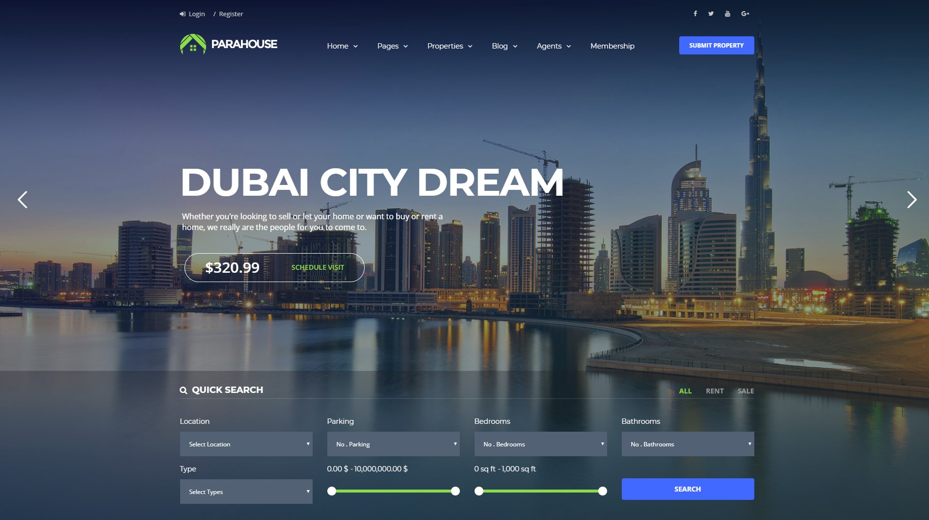 Parahouse - Modern Real Estate WordPress Theme