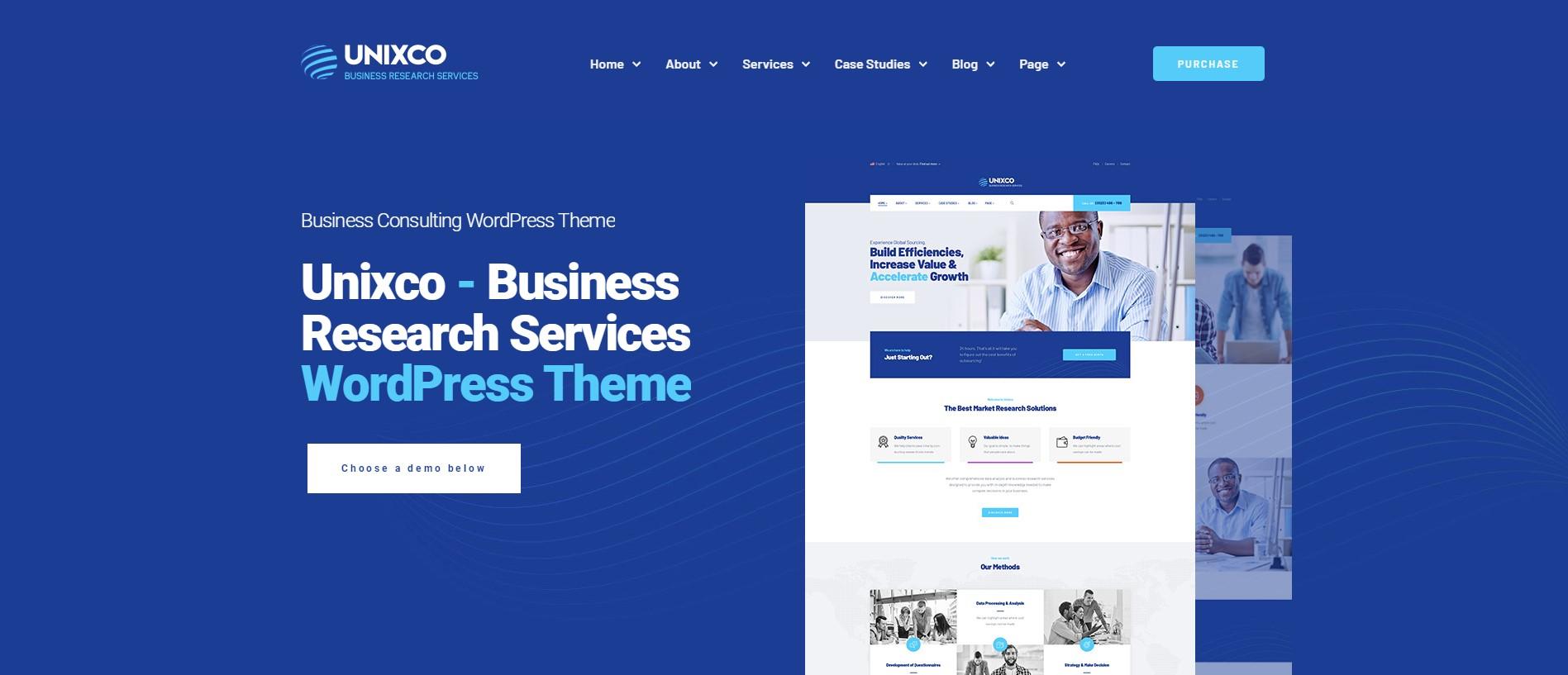 Unixco Best Business Research Service WordPress Theme