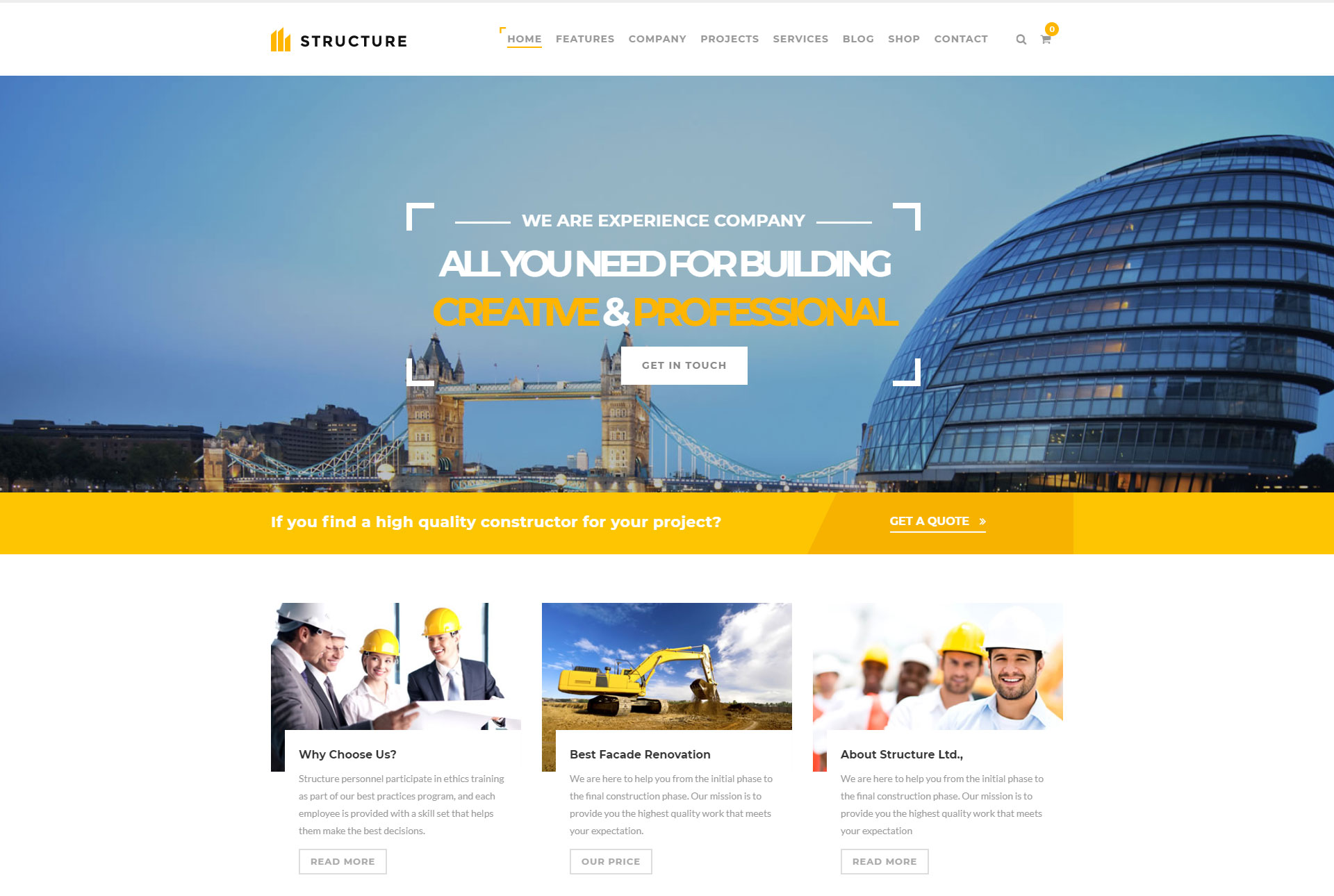 Top 10+ Construction & Engineering WordPress Themes