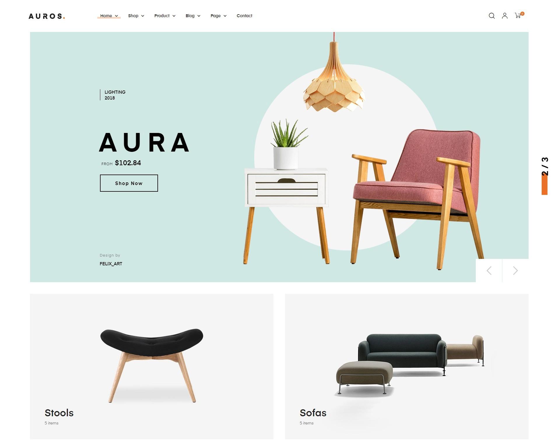 Auros - premium WooCommerce theme for furniture store