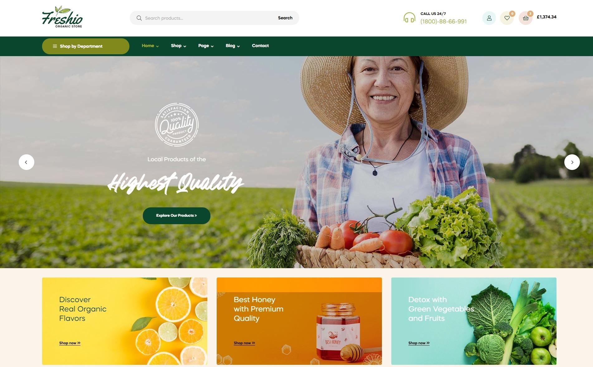 Freshio - Organic Food Store WooCommerce Theme